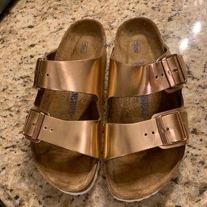 Rose Gold Birkenstock Sandals LIKE NEW